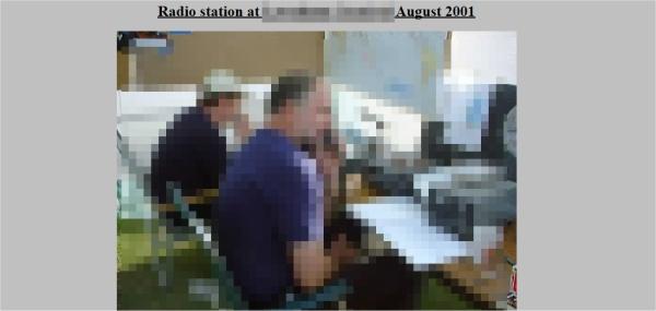 Screengrab of ham radio website issue
