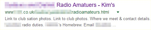 Screengrab of amateur radio website issue