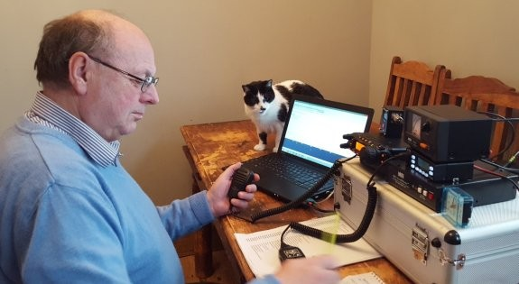 Steve 2E0UEH (and cat) working 2m for the Essex Activity Day