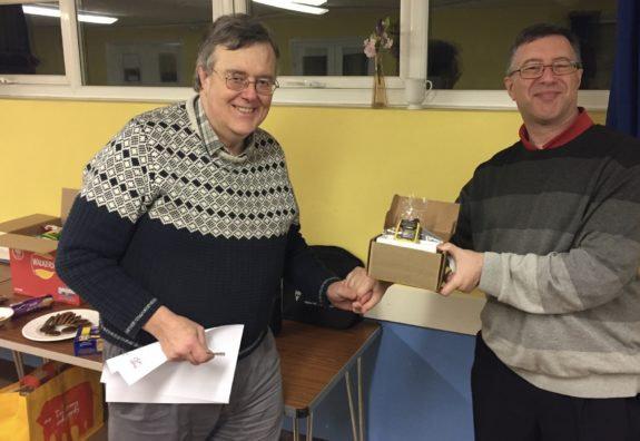 William G8CYK collecting his raffle prize in 2016 at the ERG AGM