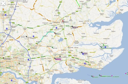 Map of APRS activity in Essex