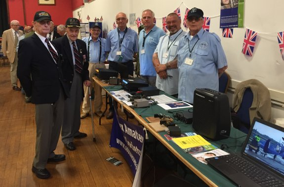 Two former Lancaster bomber crew with the SEARS team