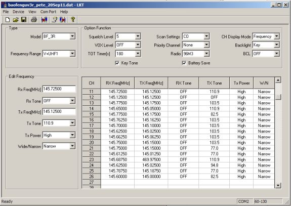 Baofeng UV-3R programming software