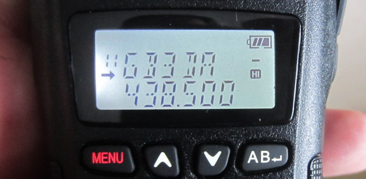 Baofeng UV-B6 showing GB3DA Repeater