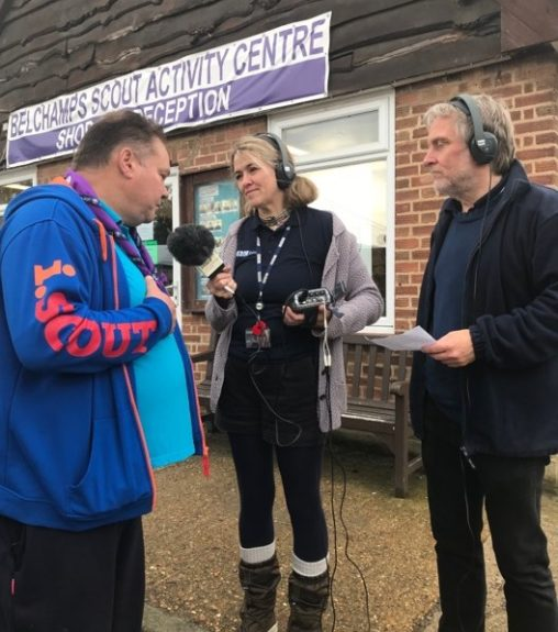 Derek M0SCE with Liana and Barry from the BBC Essex Quest