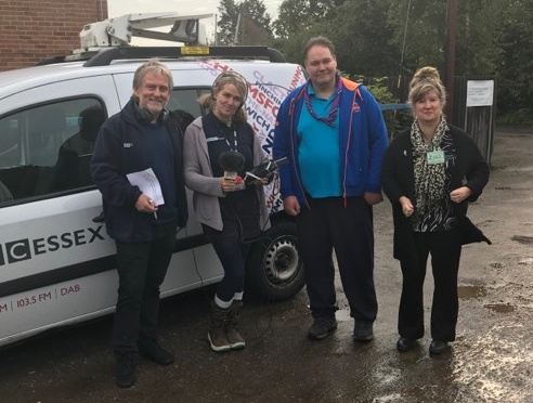 Barry & Liana from BBC Essex, with Derek M0SCE and Dorothy M0LMR at Belchamps