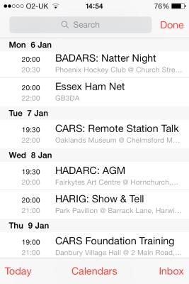 Essex Ham Calendar on an iPhone 4S