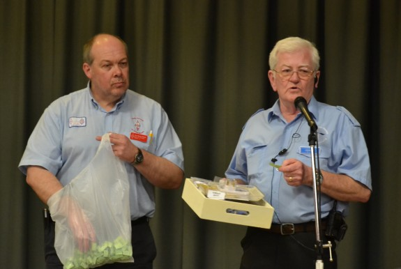 RSGB RM Steve M1ACB drawing the raffle with Vic G6BHE