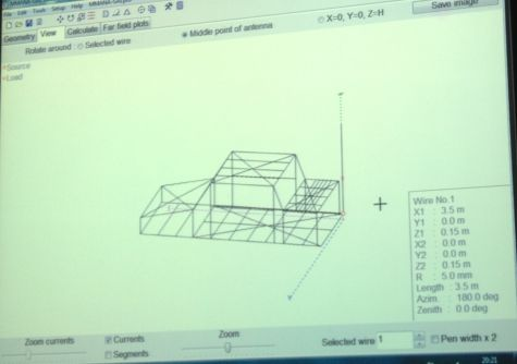 A wireframe of Peter's mobile antenna