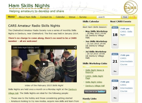 Skills Night Microsite, hosted by Essex Ham and branded for CARS