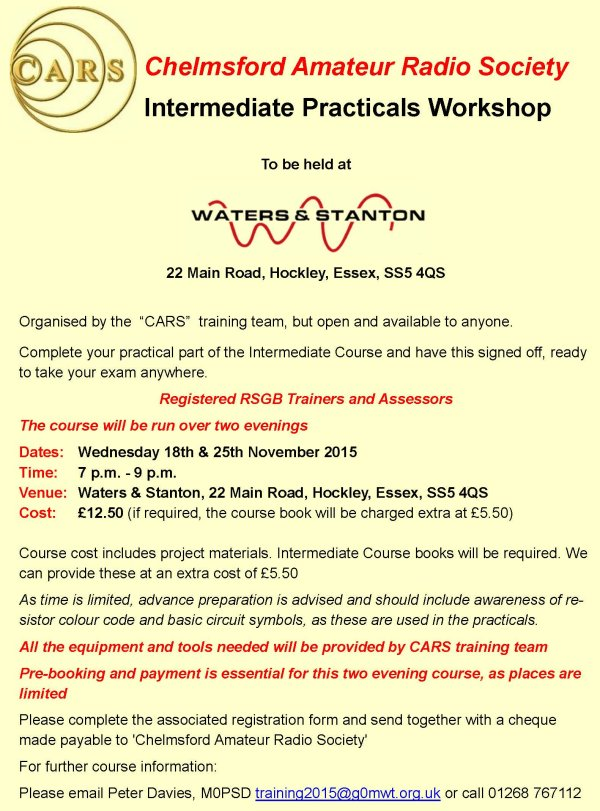 Intermediate Practicals at Waters & Stanton