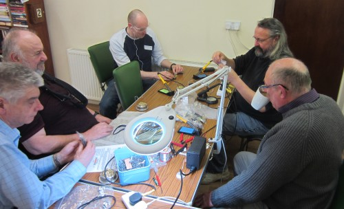David M0HBV and Chris G0IPU busy with the soldering practicals