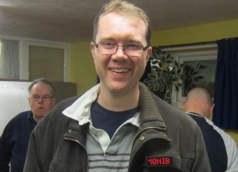 Nick M0NIB with his scrolling callsign badge