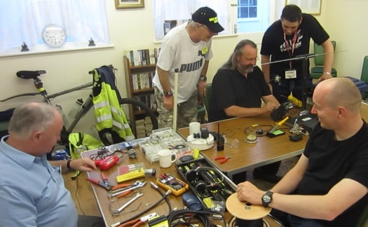 Peter M0PSD and Chris G0IPU running the construction and soldering workshop