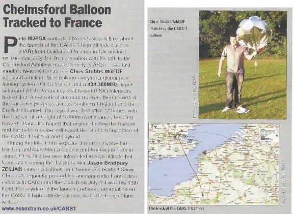 Essex Balloon Flight in Radio User August 2014