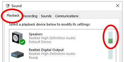 "Check if your computer is sending audio to your radio, from Windows ""Sound"""