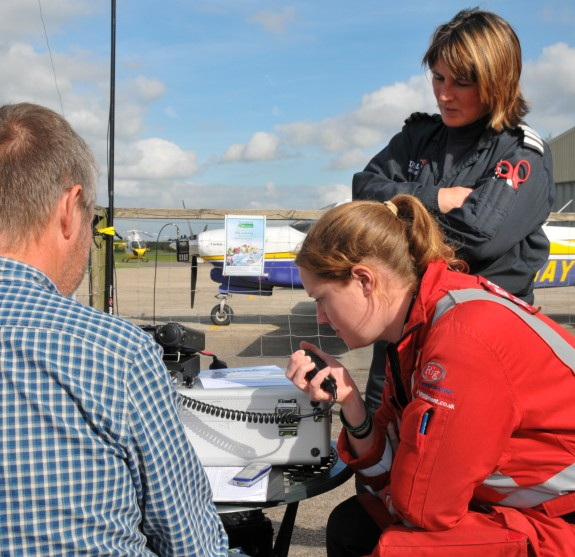 Paramedic Louise sending a guest message on GB2EAA