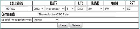 Adding a QSO into eQSL Log Entry