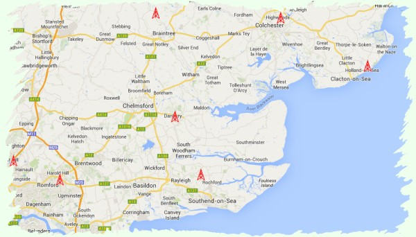 Location of amateur radio repeater sites in Essex