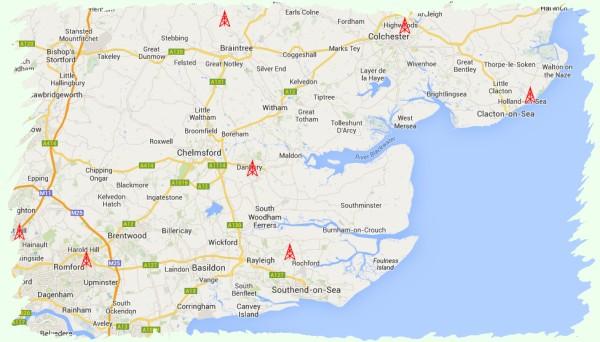 Location of amateur radio repeater sites in Essex
