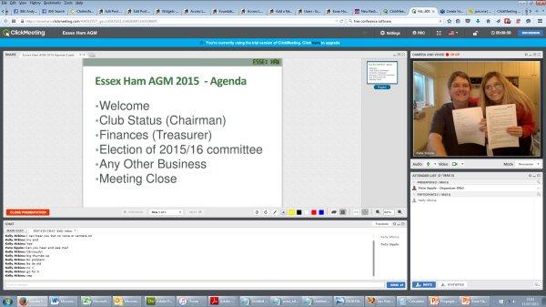 Screengrab of Essex Ham 2015 Online AGM