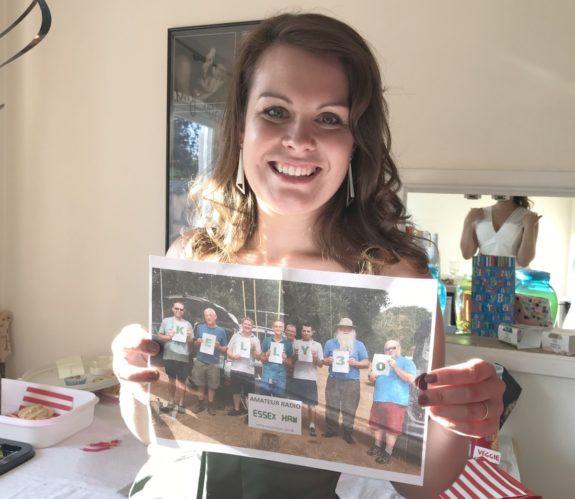 Kelly M6KFA holding the 30th birthday group photo