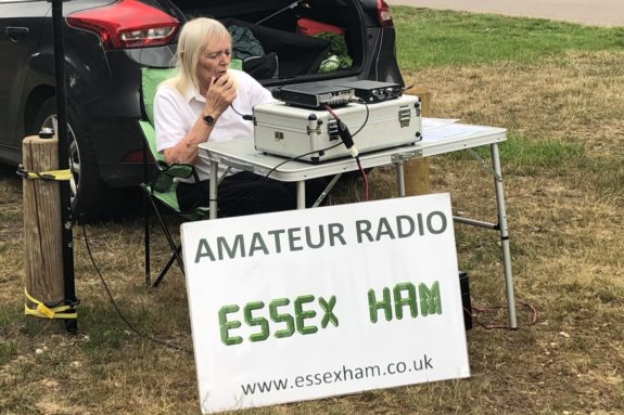 Rachel G6AMY taking part in the VHF NHD at Galleywood Common