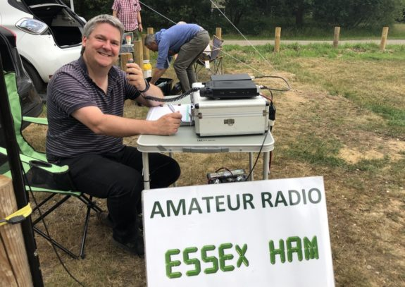 Pete M0PSX working the VHF NFD in July 2019
