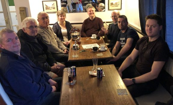 Essex Hams retiring to the warmth of the festive Horse & Groom pub for drinks and some radio talk