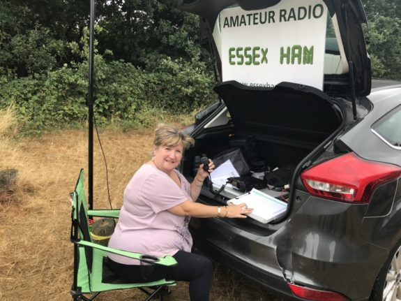 Dorothy M0LMR, operating 2m at Galleywood Common 29 July 2018