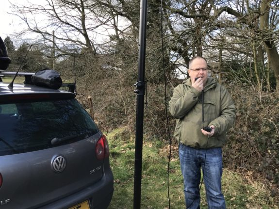 Paul G7BHE talking to a US station via his shiny new dual-band DMR