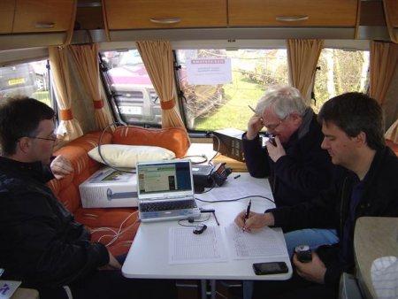 Murray G6JYB, John G1ZUD and Pete M0PSX in the caravan