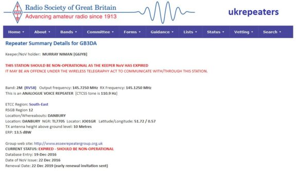 GB3DA Expiry Notice, 03 January 2020