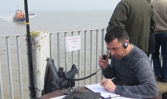 Charlie M0PZT on GB5OR with the lifeboat in the background