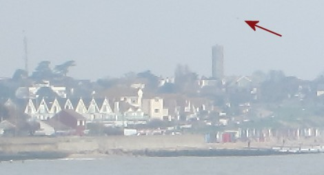 Peter G3SUY's kite, to the top right of the Naze Tower