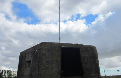 RAF Canewdon pillbox with ex-Naval minesweeper HF vertical