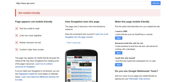 QRZ.com fails Google's new Mobile Friendly Test