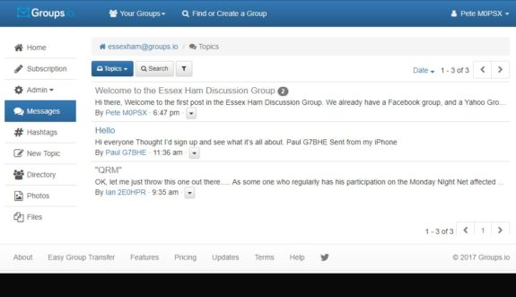 Screenshot of Essex Ham's Groups.io discussion group