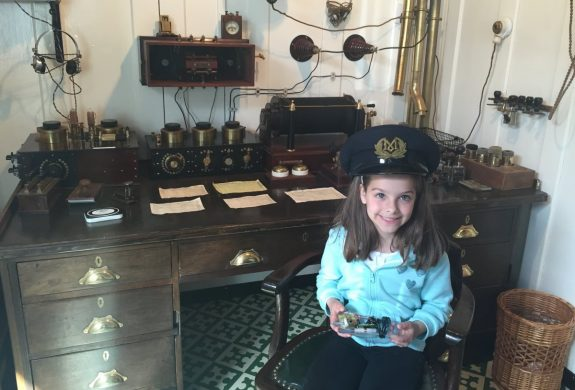 Kathryn, at the replica of the Titanic radio room