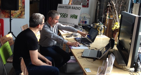 Jim 2E0RMI demonstrating amateur radio on day one