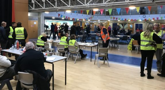 Residents signing in at the Rest Centre (Friday 10am)