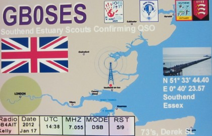 The QSL card for GB0SES, the Southend 2013 JOTA station