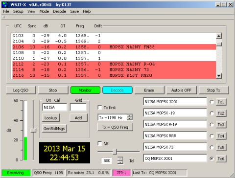WSJT-X showing JT9 in action