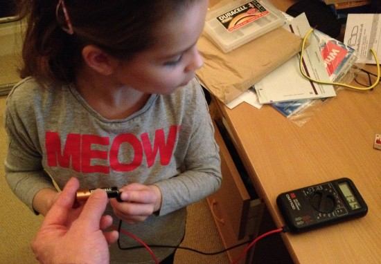 Kathryn getting to grips with a multimeter