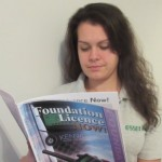 Kelly reading the Foundation book