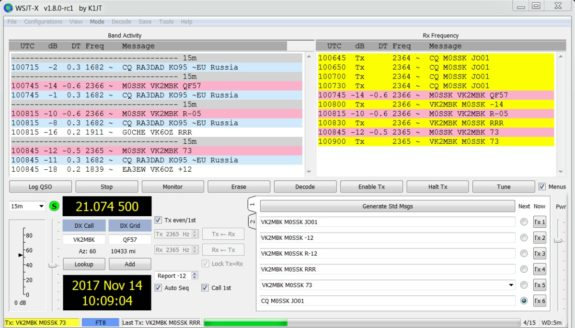 Kristian M0SSK making contact with Australia with ease on FT8