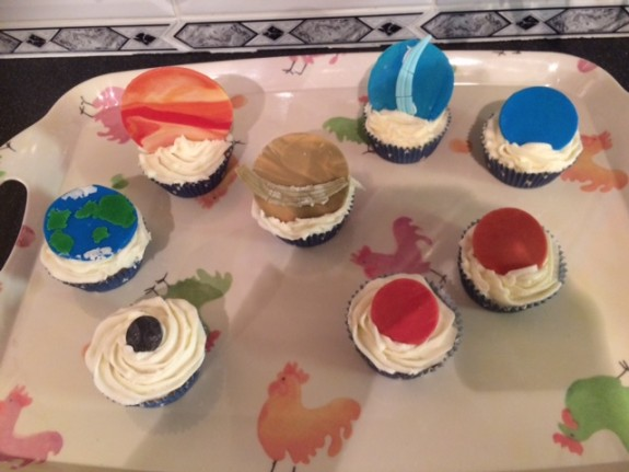 Planetary cakes, created by Sarah M6PSK, as discussed on this week's net