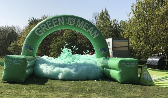 The green Bubble Station for the 2017 Maldon Bubble Dash