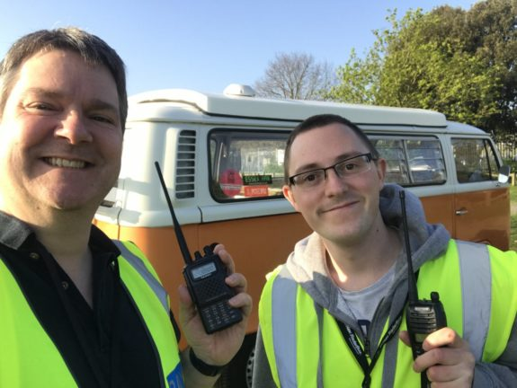 Pete M0PSX and Nick M0NFE, with Nick's new mobile ham shack!