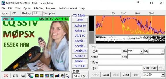 Sending an SSTV image (23 Nov 2015)
